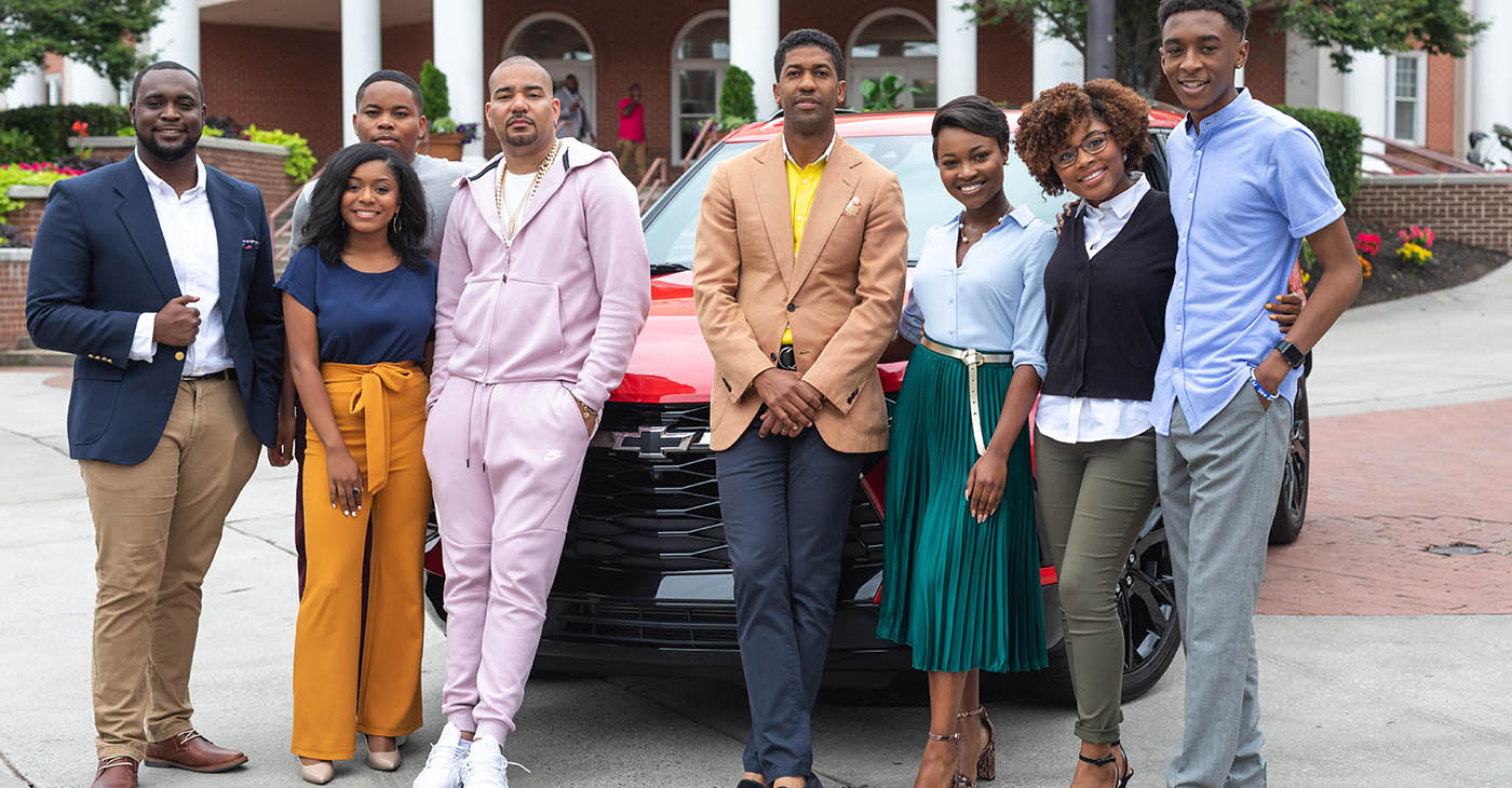 The 2019 Chevrolet Discover the Unexpected Fellows, alongside the DTU Advisor Fonzworth Bentley and Ambassador DJ Envy pictured in front of the all-new 2019 Chevrolet Blazer.